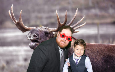 Little Cris and his Dad get in on the photo booth action.